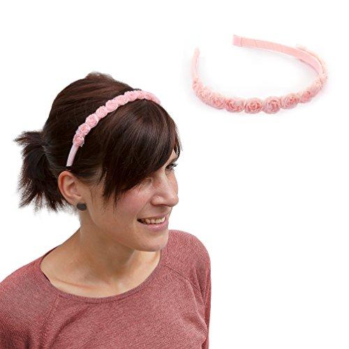 Oblique Unique® Haarreifen mit Rosen Blumen Prinzessin Braut JGA Tanzmarie Fasching Karneval