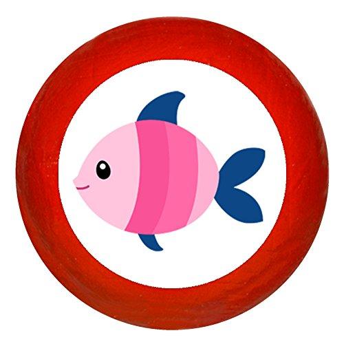 Traum Kind Kindermöbelknopf Möbelknauf Möbelknopf Möbelgriff Möbelknauf Maedchen rosa pink weiß blau Massivholz Buche - Kinder Kinderzimmer Fisch rosa pink dunkelblau gestreift Meerestiere maritim rot