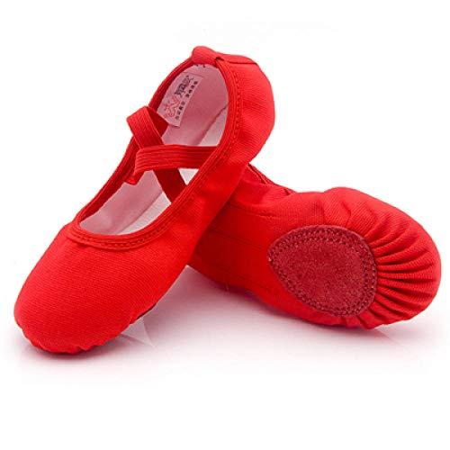 Zapatos de Ballet para niños, Zapatillas de Baile de Ballet de Lona, Suela Partida, Zapatos de práctica de Bailarina para niñas para Bailar-Rojo_8