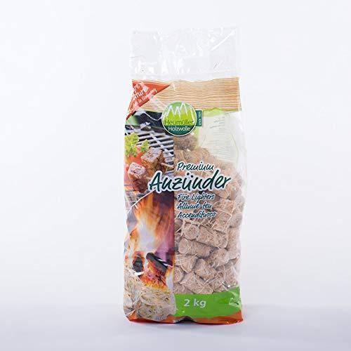Premium Anzündhilfe - Anzünder für Kamin & Grill - Holzwolle, Anbrennhilfe - 2 KG
