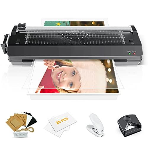 Plastificadora A3, caliente y fría laminadora 7 en 1, ABS botón maquina laminadora, con perforadora, redondeador de esquinas, marcos de fotos, 20 bolsas de laminación adecuado para la oficina,