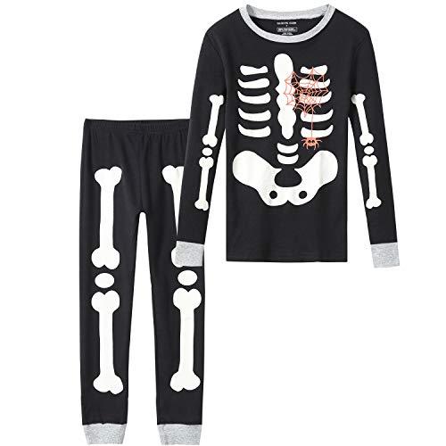 Pijama de Halloween para niños y niñas, bebé de 18 a 12 niños, 100% algodón, pijamas para dormir, Fluorescente/Negro/Gris, 3 Años
