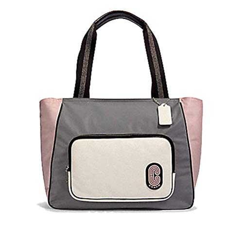 COACH Color-Block Nylon Leather Court Tote Heather Grey/Multi One Size