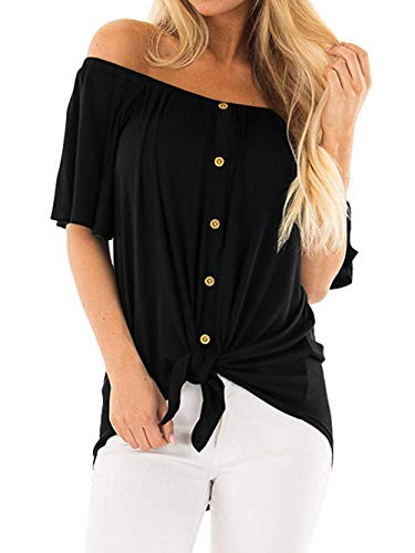 SAMPEEL Junior Button Down Off The Shoulder Tops Summer Knot Loose Fit Blouses Black M