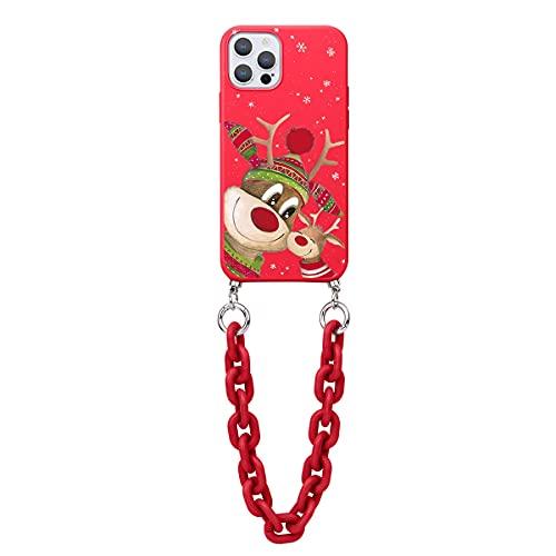 ZhouFan Funda con Cadena para Huawei P Smart 2019 / Honor 10 Lite 6.21'', Rojo Cárcasa Silicona Suave TPU Antigolpes Teléfonoo Móvil con Cadena de Muñeca Chicas Case para Honor 10 Lite, Ciervo2
