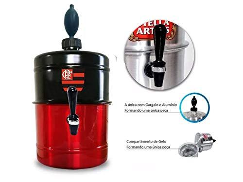 Chopeira Portátil 5,1 L P/Cervejas - 100% Aluminio Time FLAMENGO - Mantém gelado 4hs - Torneira Especial - cor VERMELHA