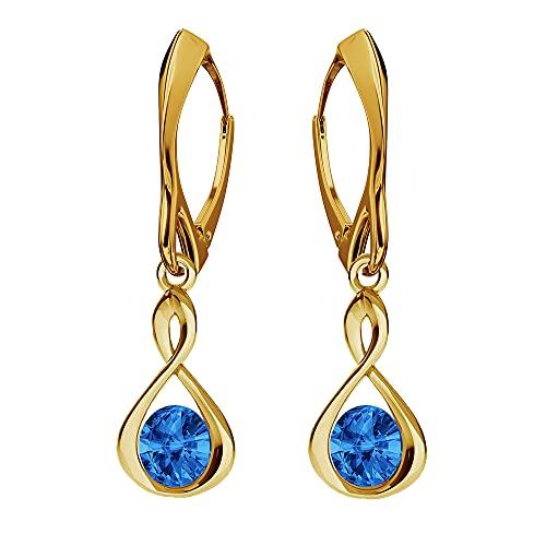 Pendientes de plata de ley 925 chapados en oro de 24 quilates con cristales de Swarovski - Infinito - zafiro - Pendientes para mujer - Bonitas joyas para mujer con caja de regalo