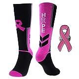 Sports Breast Cancer Awareness Pink Ribbon Socks& Lapel Pin Set Athletic Crew Socks Hope Socks for Baseball,Basketball,Softball,Lacrosse