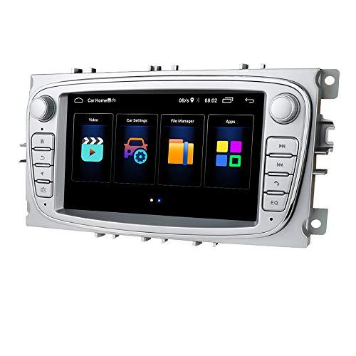 Android 10 Radio de navegación para automóvil FM Bluetooth WiFi Mirror-Link Reproductor de Video de 7 Pulgadas Apto para Ford Mondeo Focus S-MAX C-MAX Galaxy Kuga Transit Connect (Plata)