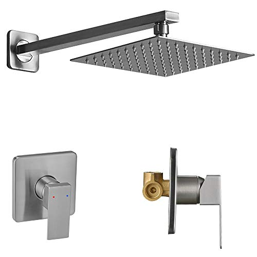 Heable Shower Faucet Set Brushed Nickel, Single Function Shower Trim Kit with Rough-in Valve, Square Rain Shower Head System Included Extra Long Shower Arm for Bathroom