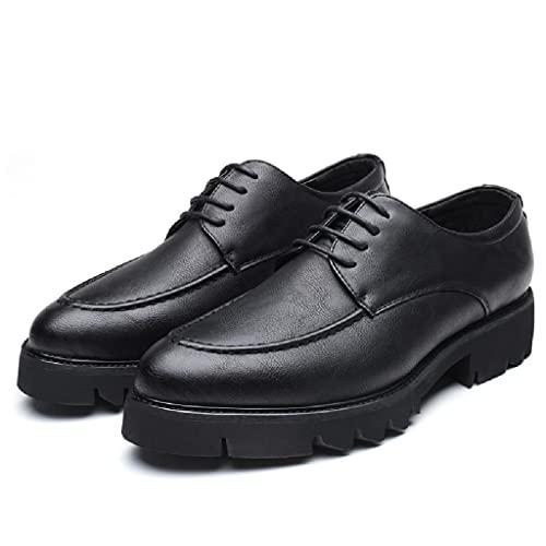 QINHE Zapatos De Negocios para Hombre, Zapatos De Cuero con Plataforma Retro, Zapatos Casuales con Cordones De Otoño, Zapatos De Vestir De Trabajo para Caminar Vintage De Moda De Gran Tamaño,Black-39