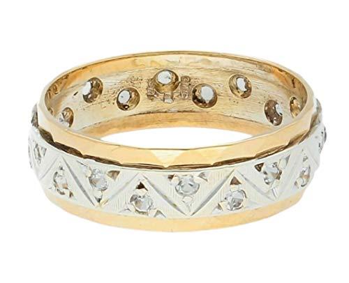 Alianza de boda de oro blanco amarillo de 9 quilates (1/2) 6 mm de ancho