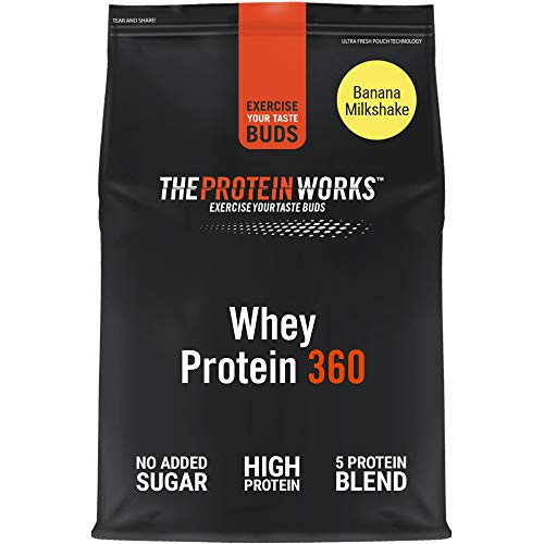 THE PROTEIN WORKS Whey Protein 360 Powder | High Protein Shake | No Added Sugar and Low Fat | Protein Blend | Banana Milkshake | 600 g