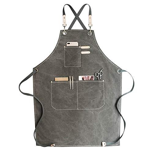 Tool grembiuli Grembiule da lavoro in tela con cinghie regolabili per barbiere, cucina, giardinaggio, caffetteria,grigio scuro