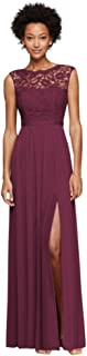 Long Bridesmaid Dress with Lace Bodice Style F19328