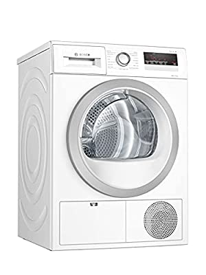 Bosch WTH85222GB Serie 4, Freestanding Heat Pump Tumble Dryer with AutoDry, Sensitive Drying System, Down Drying and Quick 40' drying, 8kg load, White