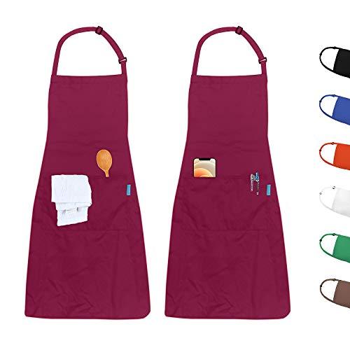 esafio 2 Piezas Delantales Impermeables, Delantal de Trabajo Ajustables del Cocinero con 2 Bolsillo para Mujeres Hombres,Delantal Chefs Cocina para Cocinar/Hornea/Barbacoa (Rojo)