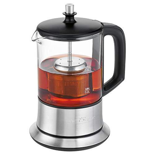 Profi Cook PC-TK 1165 1165-2 in 1-Tee-und Wasserkocher, Permanent Edelstahl-Teefilter (heb-und senkbar), 0,5 L Füllmenge, Warmhaltefunktion, Glas-/Edelstahlgehäuse, Schwarz/Silber