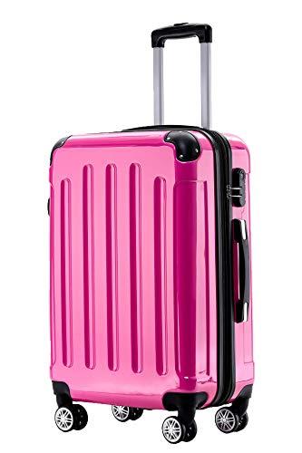 BEIBYE Hartschalen Koffer Trolley Rollkoffer Reisekoffer 4 Zwillingsrollen Polycabonat (Pink, Handgepäck 55cm-40L)