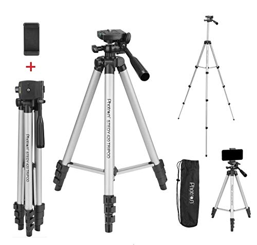 Photron Stedy 420 Tripod 50 Inch with Mobile Holder for Smart Phone, Camera, Mobile Phone | Extends to 1240mm (4 Feet) | Folds to 425mm(1.4 Feet) | Weight Load Capacity: 2.5kg | Case Included, Silver