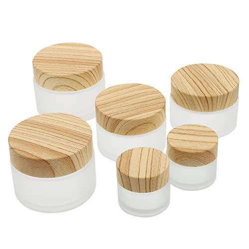 HEALLILY 6 Pzas Botella de Crema Facial Recargable Tarro Cosmético de Vidrio Esmerilado Redondo con Tapa de Grano de Madera Lociones Contenedor Dispensador de Bálsamo Labial para Viajes en