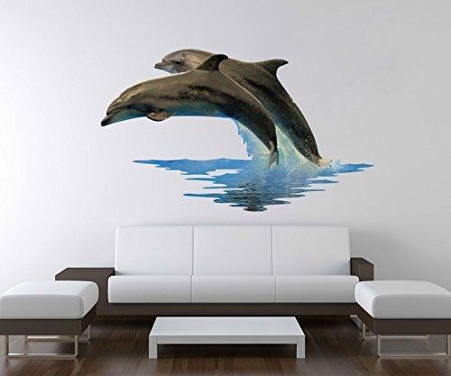3D Wandtattoo Delfine Meer Delfin blau Ozean Wand Aufkleber Deko Wandbild Wandsticker A3D03, Motiv Breite:97cm