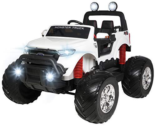 Actionbikes Motors Kinder Elektroauto Ford Ranger Monster - 4 x 45 Watt Motor - Touchscreen - Allrad - 2-Sitzer - Rc Fernbedienung - Elektro Auto für Kinder ab 3 Jahre (Weiß)