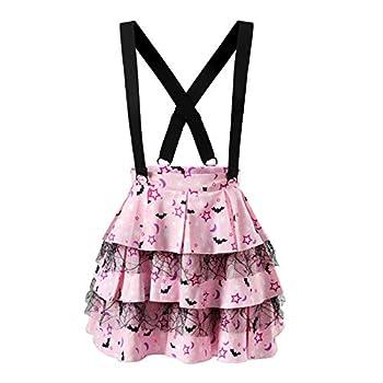 Littleforbig Pleated Overall Ruffle Tiered Skirt Romper - Goth Princess Jumper Skirt 2XL Pink