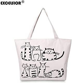 Gimax Top-Handle Bags - Excelsior Crossbody Bags for Women New Cartoon Women's Bags Cats Printed Women's Handbags Tote Bag Big Canvas Shoulder - (Size: Width41cm Height32cm)