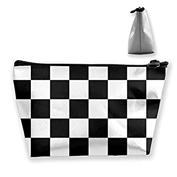Black White Race Checkered Flag Women Cosmetic Bags Novelty Waterproof Portable Handbag Travel Makeup Toiletry Pouch Accessories Organizer With Zipper For Womens Girls