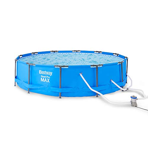 Bestway 56687E Steel Pro Max 15ft x 42in Frame Above Ground Swimming Pool Set with 1000 GPH Filter Pump, Ground Cloth, Cover, and Ladder