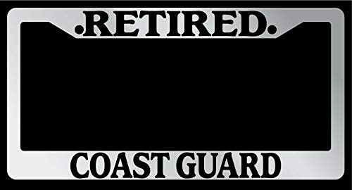 License Plate Frames, License Plate Frame 'Retired Coast Guard' Auto Accessory Novelty Applicable to Standard car Unisex-Adult Car Licenses Plate Covers Holders Frames for Plates 15x30cm