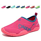 CIOR Kids Toddler Water Shoes Quick-Dry Boys and Girls Slip-on Aqua Beach Sneakers (Toddler/Little Kid/Big Kid) VY03-3rose red-26
