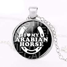 2018 New I Love My Arabian Horse Pendant Equestrian Vaulting Club Necklace Silver Glass Art Picture Pendants Round Jewelry