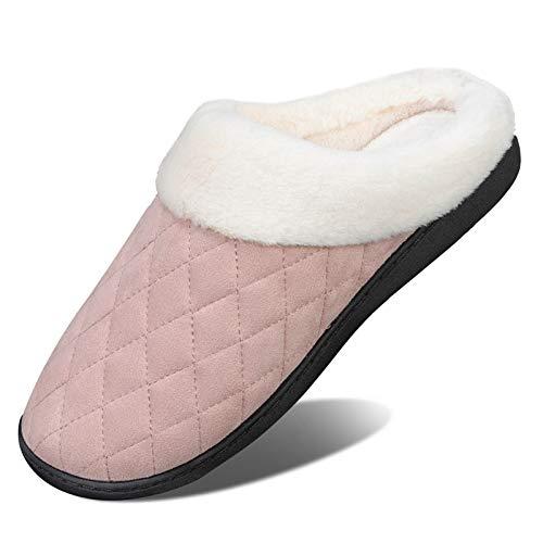 Herren Damen Winter Hausschuhe Memory Foam Wärme Bequem Plüsch Pantoffeln Home rutschfeste Slippers Schuhe Indoor Outdoor(fg.Pink,40/41 EU)