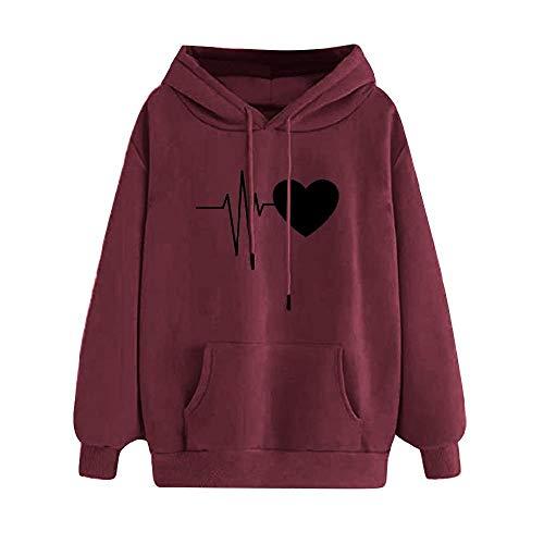 Beliebte Mode Lose Casual Fleece Hoodie Pullover Elektrokardiographisch Gedruckt Damen Pullover Verdickt Gr. S, weinrot