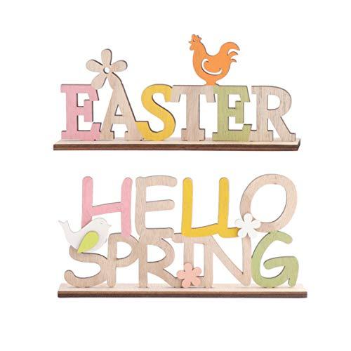 ABOOFAN Schriftzug Ostern Holz Easter Hello Spring Holzschrift Osterdeko Desktop Ornament Frühling Ostern Party Festival Dekoration Zuhause Wohnzimmer Schlafzimmer Tischdeko 2 Stück
