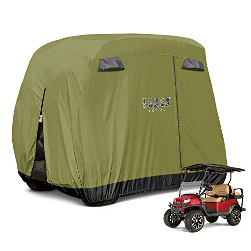ez go golf cart covers 10L0L 4 Passenger Golf Cart Cover Fits EZGO, Club Car and Yamaha, 400D Waterproof with Extra PVC Coating Sunproof Dustproof - Two Side Zippers (Both Driver and Passenger Side) - Black Army Green