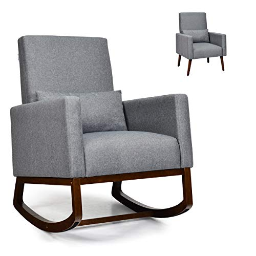 Giantex Rocking Chair Fabric High Back Armchair with Waist Pillow,Wooden Tapered & Rocking Dual Legs Multifunctional Upholstered Accent Chair for Nursery, Living Room, Bedroom Rocker(1, Gray)