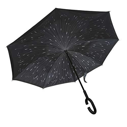 Seitenverkehrter Stockschirm, Innovativer Regenschirm, Doppelschichtiger Regenschirm, Umgekehrter Regenschirm, Regenschirm mit C-förmigem Griff - Meteorregen