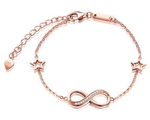 Pulseras de plata 925 para mujer y niña, pulsera con símbolo de infinito, con incrustaciones de circón, pulsera de estrella ajustable, regalo de cumpleaños de Navidad