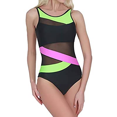 RAINED-Women's Sheer One-Piece Swimsuit Mesh High Waisted Monokini Striped Color Bathing Suit High Neck Monokini