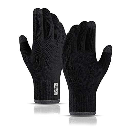 SYOSIN Handschuhe Herren Winterhandschuhe Touchscreen Anti-Rutsch Warme Strickhandschuhe Freien Camping Skifahren Wandern Laufen Radfahren Arbeiten Fahren für Herren und Damen