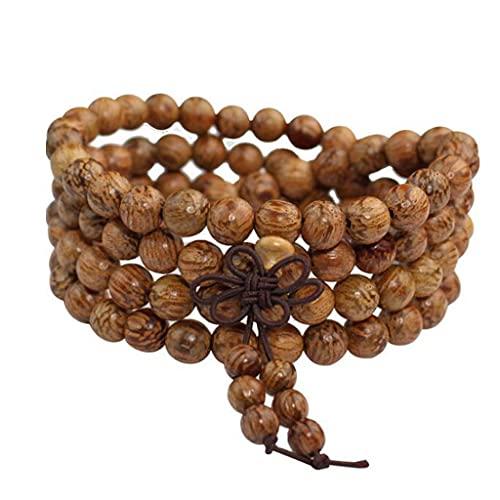 Cakunmik Pulsera de Perlas de Madera de 8 mm 108 Pulsera, Collar de meditación Budista Tíbet Hombres y Mujeres Pareja