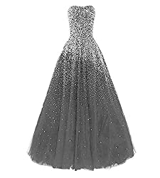 Grey Long Dress with Rhinestones
