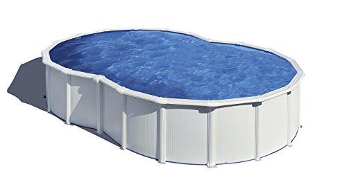 Gre KITPROV6270 Varadero - Piscina Elevada con Forma de Ocho, Aspecto Acero Blanco, 640 x 390 x 120 cm
