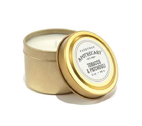 Paddywax Candles APT206Z Apothecary Collection Soy Wax Blend Candle in Travel Tin, Small, 2 Ounce, Tobacco & Patchouli