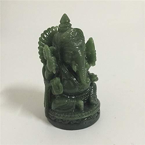 QWERWEFR Ganesha Buddha Statue Elefantengott Skulptur Ganesh Figur Künstliche Jade Stein Garten Dekoration Zubehör Statuen