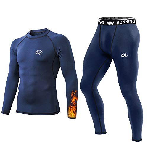 MeetHoo Thermounterwäsche Herren, Funktionsunterwäsche Set Funktionswäsche Thermo Skiunterwäsche Thermowäsche Base Layer Unterhemd Unterhose für Laufen