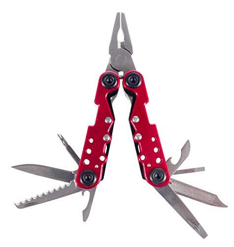 Cao Rouge Pince Multifonction PM-Outils 11 cm (Ouvert) 7 cm (fermé) 4 cm (Lame) Acier Inoxydable Adulte Unisexe, 11cm